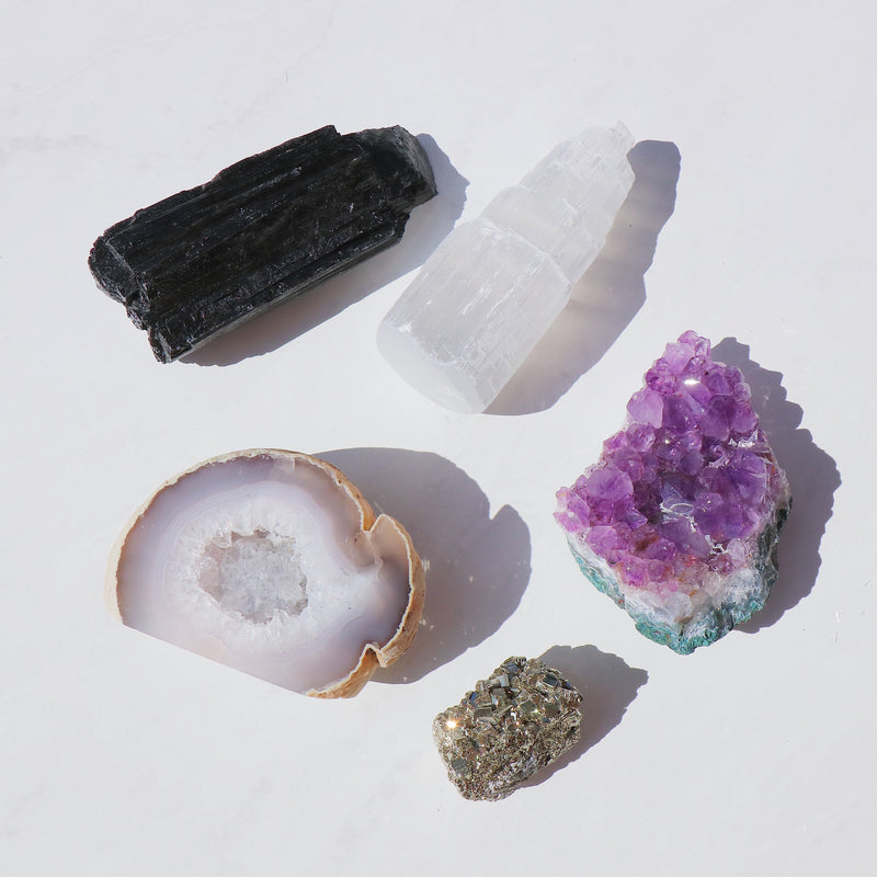Full Moon Crystal Set - Amethyst, Geode, Pyrite, Selenite and Black Tourmaline Crystal Set - Beau Life