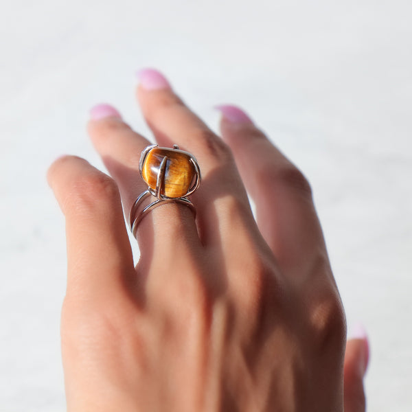 Center Of Attention Single Stone Tiger Eye Ring in Silver - Beau Life