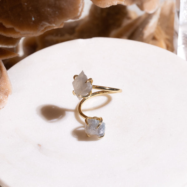 Double The Attention Labradorite Ring In Gold - Beau Life