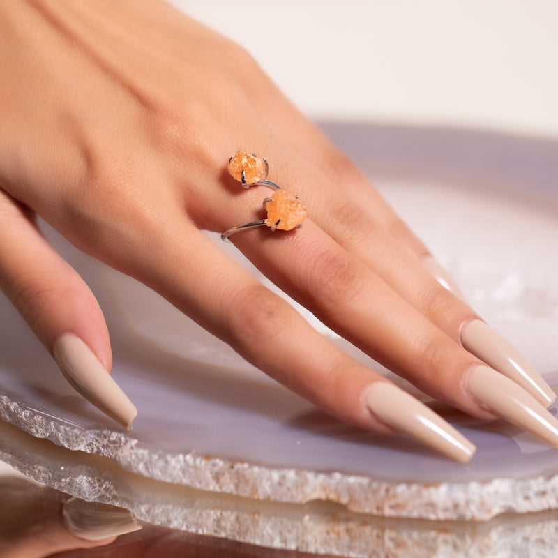 Double The Attention Sunstone Ring In Silver
