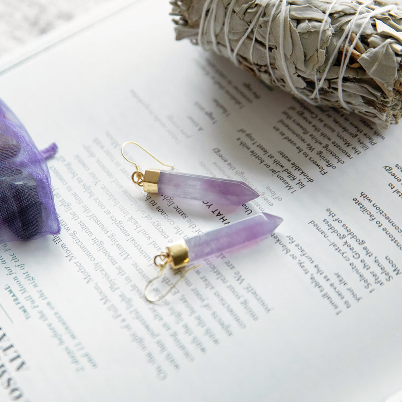 Amethyst Point Earrings in Gold Plated 925 Sterling Silver - Beau Life