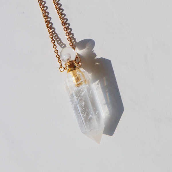 High Priestess Clear Quartz Point Necklace with Oil Chamber Gold - Beau Life