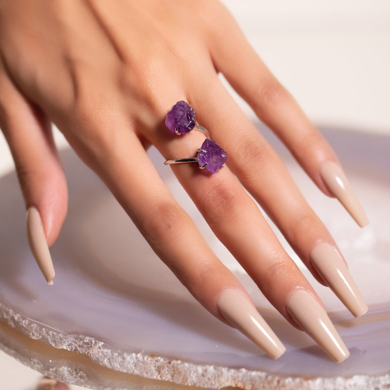 Double The Attention Amethyst Ring In Silver - Beau Life