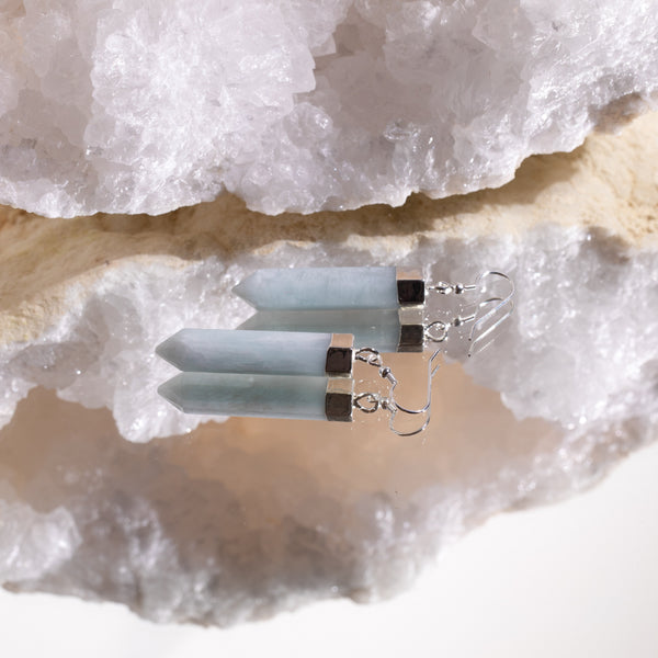 Aquamarine Point Earrings in 925 Sterling Silver - Beau Life