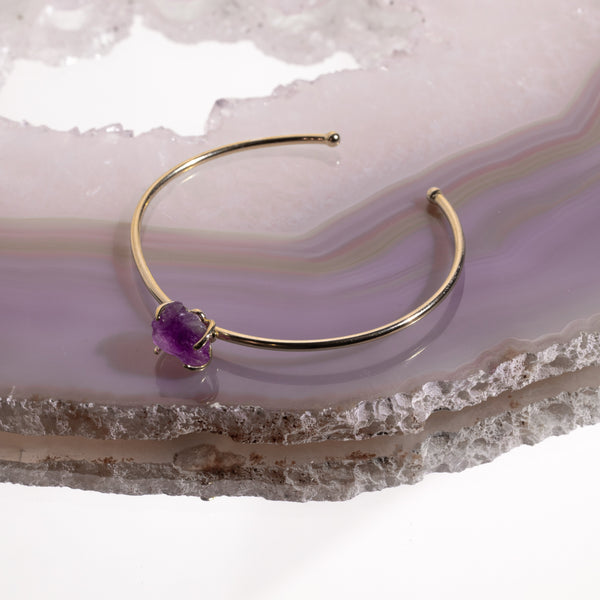 Amethyst Crystal Bangle In Gold Plated 925 Silver - Beau Life