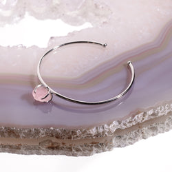 Rose Quartz Crystal Bangle In 925 Silver - Beau Life