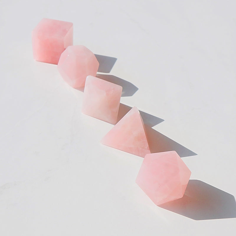 Platonic Solids Rose Quartz Set - Beau Life