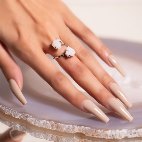 Double The Attention Moonstone Ring In Silver