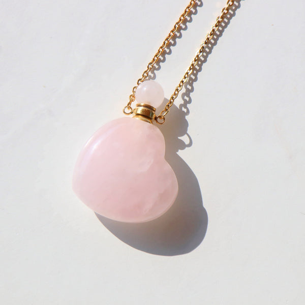 Rose Quartz Heart Necklace with Oil Chamber in Gold Plated 925 Sterling Silver - Beau Life