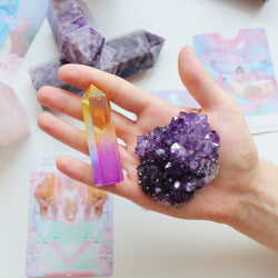 Rainbow Angel Aura Point & Amethyst Crystal Duo