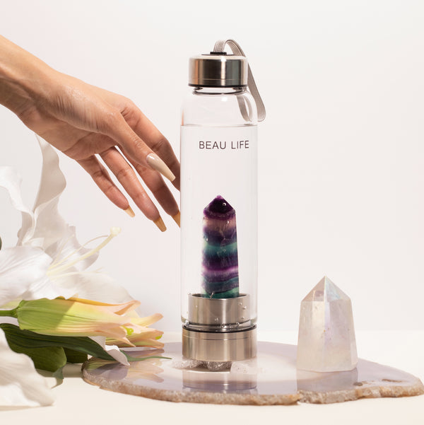 Rainbow Fluorite Crystal Point Water Bottle