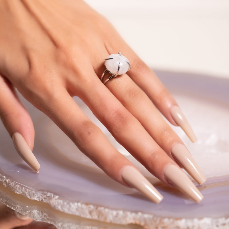 Center Of Attention Single Stone Moonstone Ring in Silver - Beau Life