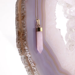 Rose Quartz Point Necklace in Gold Plated 925 Sterling Silver - Beau Life