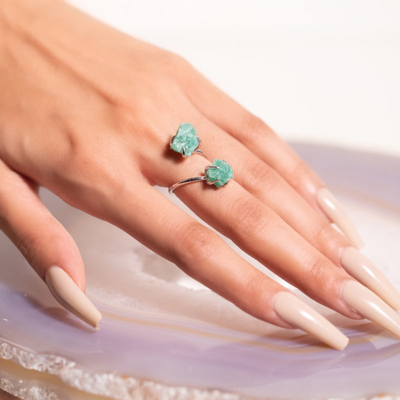 Double The Attention Amazonite Ring In Silver - Beau Life
