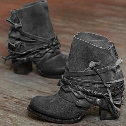 Vintage Back Zipper Tassel Women Short Boots - fashionshoeshouse