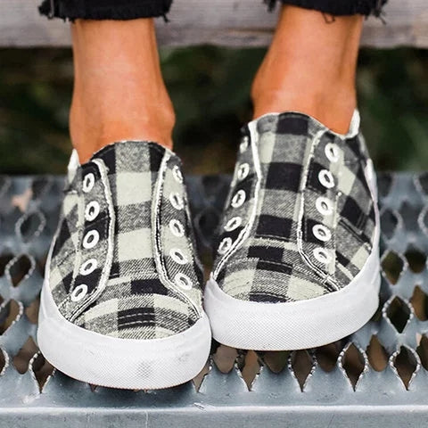 Women Plaid Casual Slip On Shoes Comfy Sneakers - fashionshoeshouse
