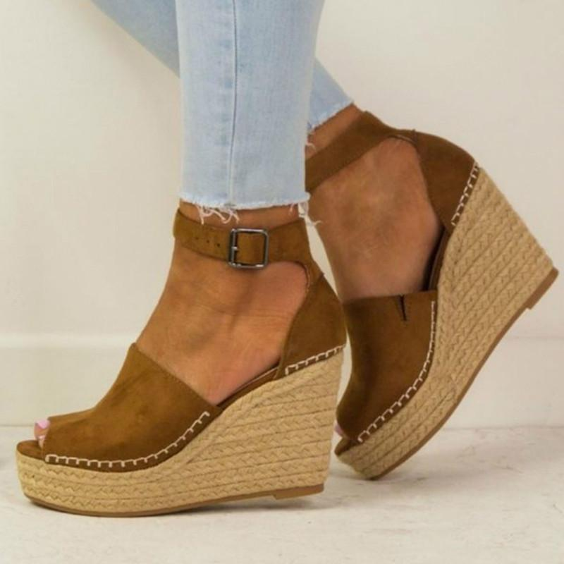 High Heel Hemp Rope Casual Sandals - fashionshoeshouse