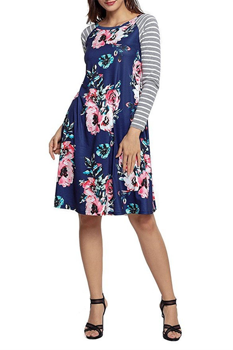 Daily Floral Print Long Sleeve Dress - fashionshoeshouse