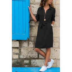 3/4 Sleeve Shirt Dress Knot Waist Dress - fashionshoeshouse