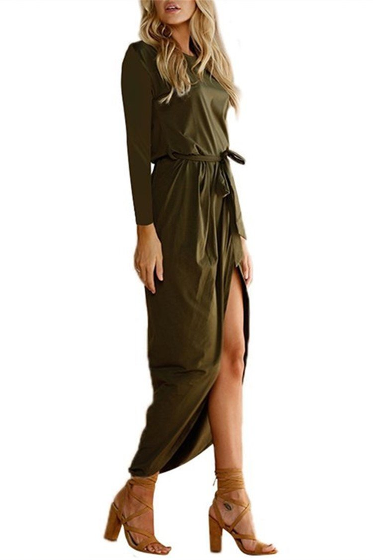 Long-sleeved Irregular Solid Fall Dress - fashionshoeshouse