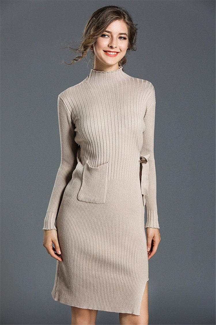 Slim Knitted Solid Sweater Dress - fashionshoeshouse