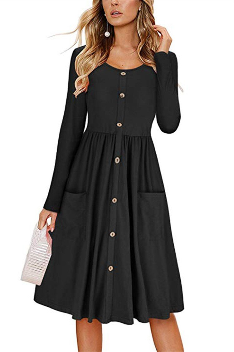 Swing long sleeve cotton-blend paneled dress - fashionshoeshouse