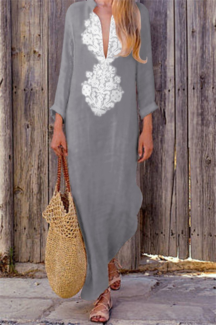Vintage V Neck Long Sleeve Cotton Line Dress - fashionshoeshouse