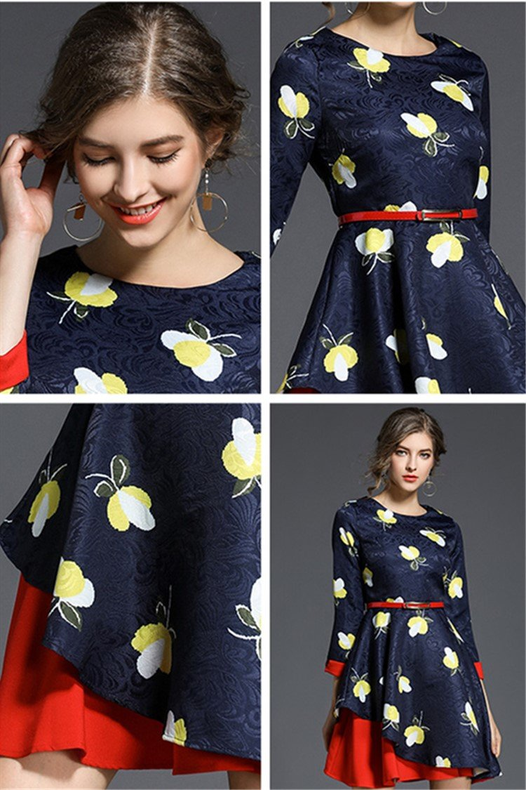 New spring slim floral print dress - fashionshoeshouse
