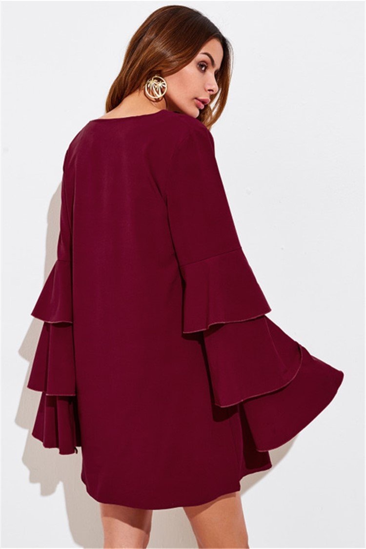 Sleeves Layered V-neck Fall Dress - fashionshoeshouse