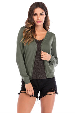 Autumn & winter new V-neck buckle knit cardigan - fashionshoeshouse