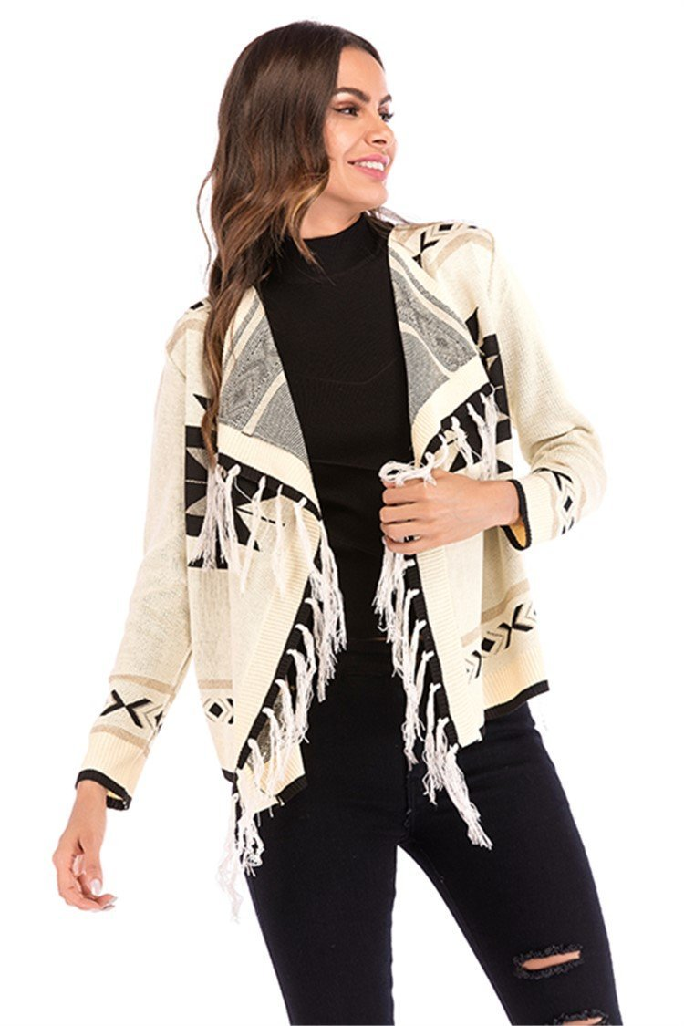 New geometric pattern knit cardigan with tassel - fashionshoeshouse