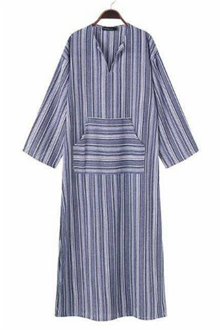 Stripe Pockets 3/4 Sleeves Maxi Shift Dress - fashionshoeshouse