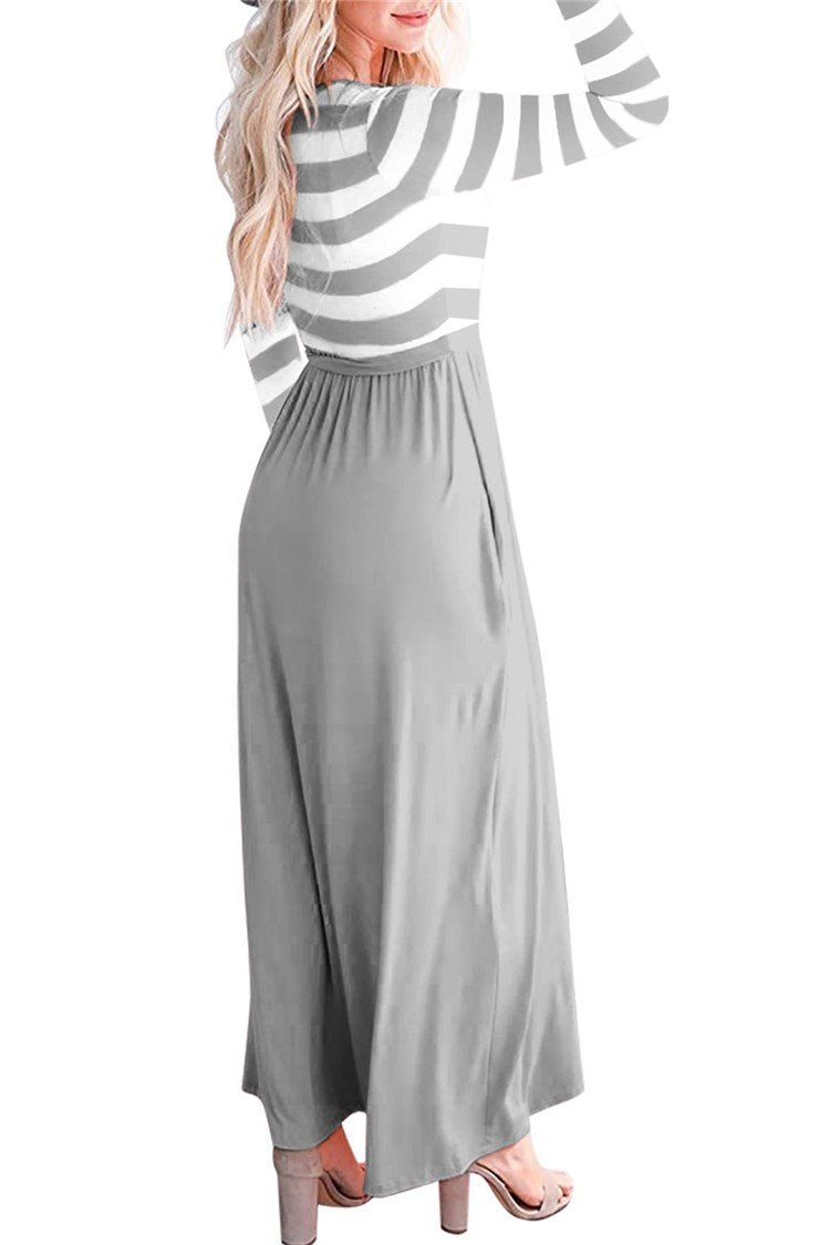 Causal Striped Long Sleeve Pleated Dress - fashionshoeshouse