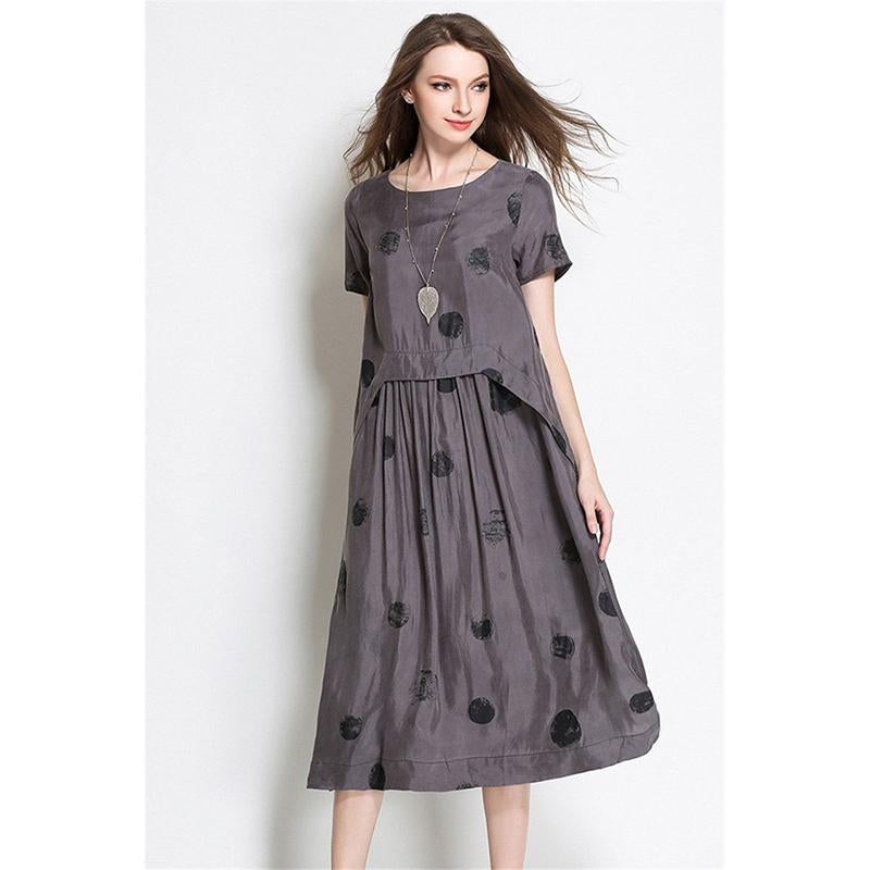 Dot Print Loose Swing Dress - fashionshoeshouse