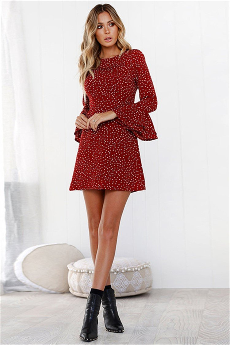 Flare Sleeve Polka Dot  3/4 Sleeve Fall Dress - fashionshoeshouse