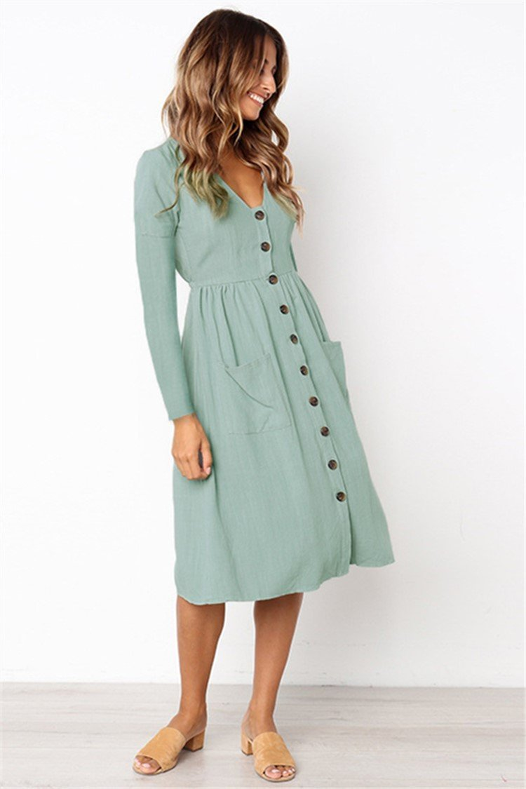V-neck Pocket Long Sleeve Fall Dress - fashionshoeshouse