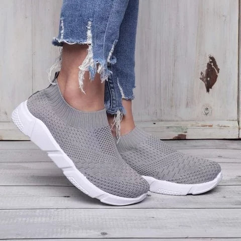Women Shoes Breathable Mesh Sneakers Lady Plus Size Loafers - fashionshoeshouse