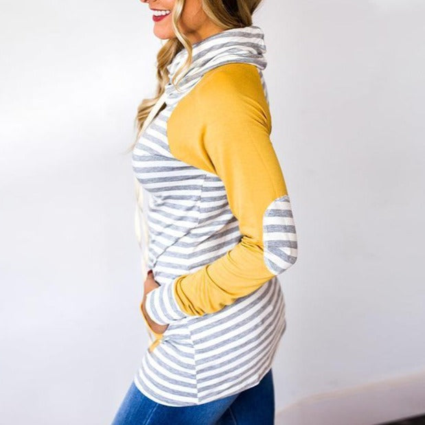 Fashion Stripe Print Sweatshirt - fashionshoeshouse