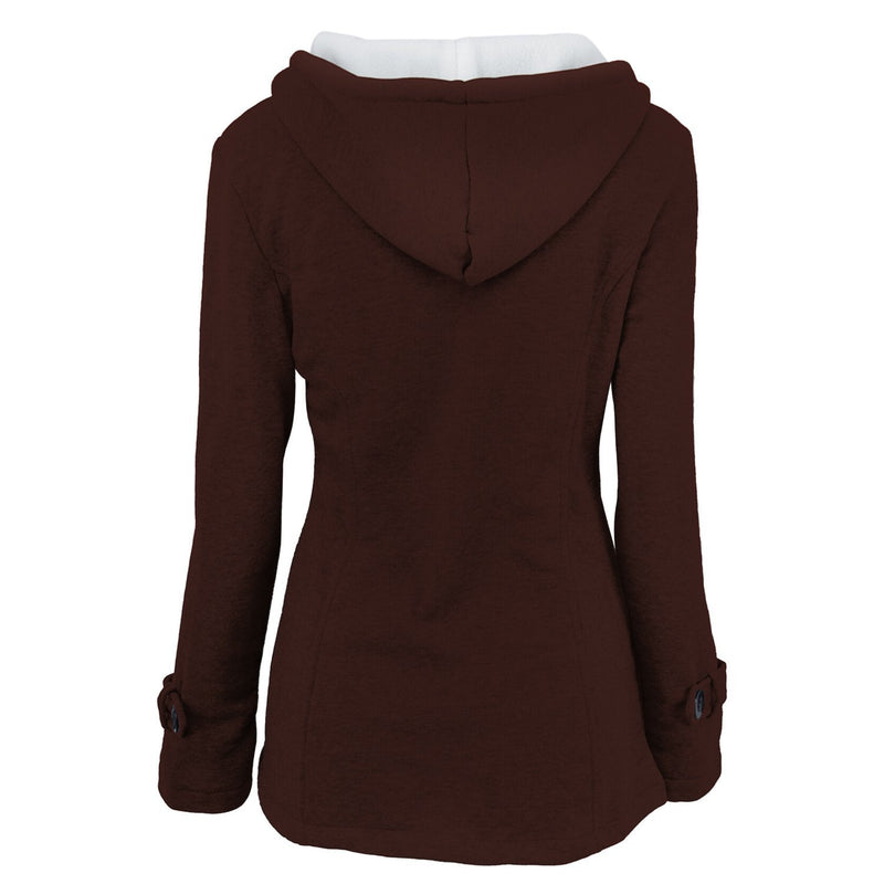 Winter Women Hooded Button Coats - fashionshoeshouse