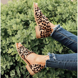 Leopard Peep Toe Side Hollow Low Chunky Sandals - fashionshoeshouse