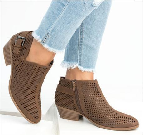 Ponited Toe Buckle Strap Booties - fashionshoeshouse