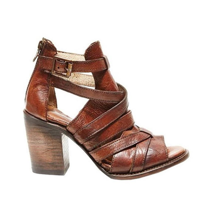 Vintage Buckle Strap Chunky Heel Sandals - fashionshoeshouse