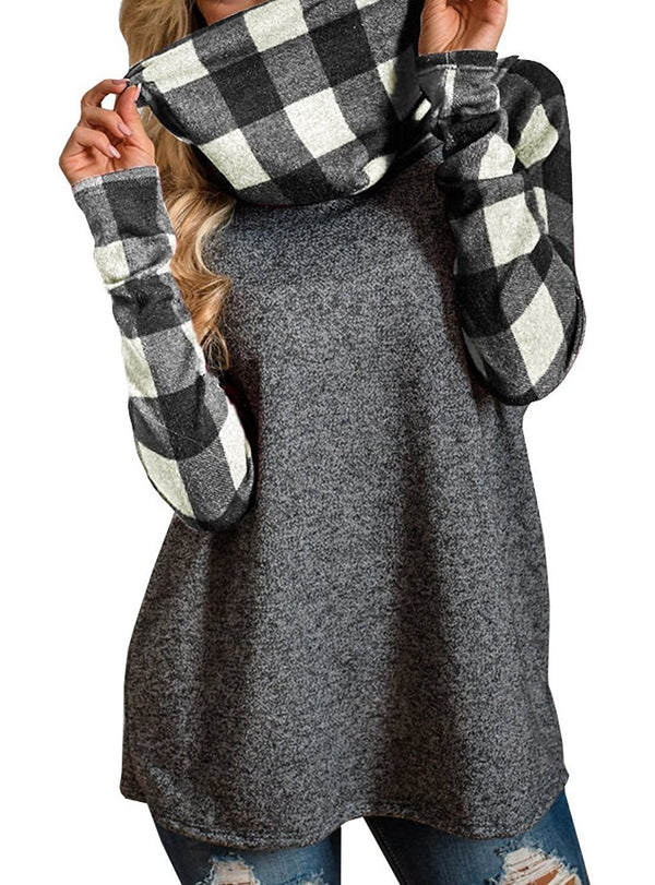 Turtleneck Plaid Pullover Sweatshirt - fashionshoeshouse