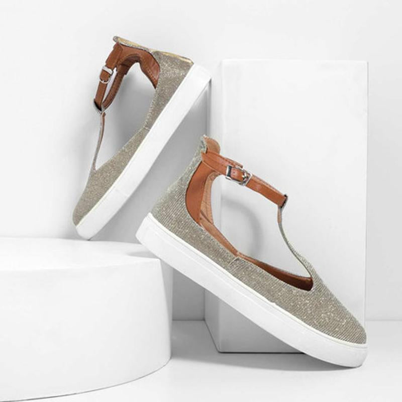 T Strap Adjustable Buckle Shallow Flat Sandals For Women - fashionshoeshouse