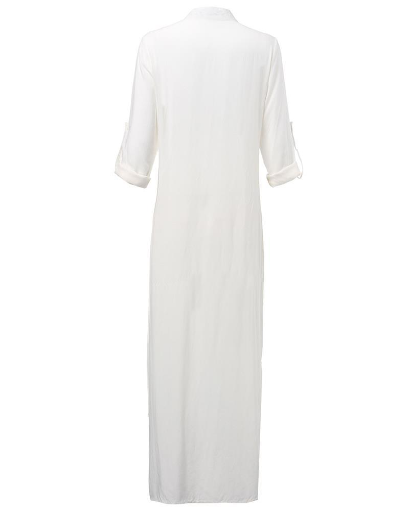Cotton Linen Beach Maxi Dress - fashionshoeshouse