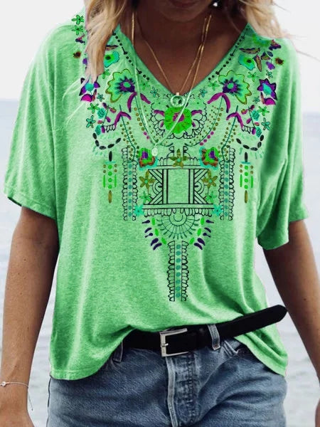 Bohemia Flowers Printed V Neck Women Tops - fashionshoeshouse