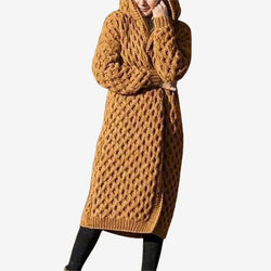 Women's knitted hooded long cardigan front open chunky warm coat