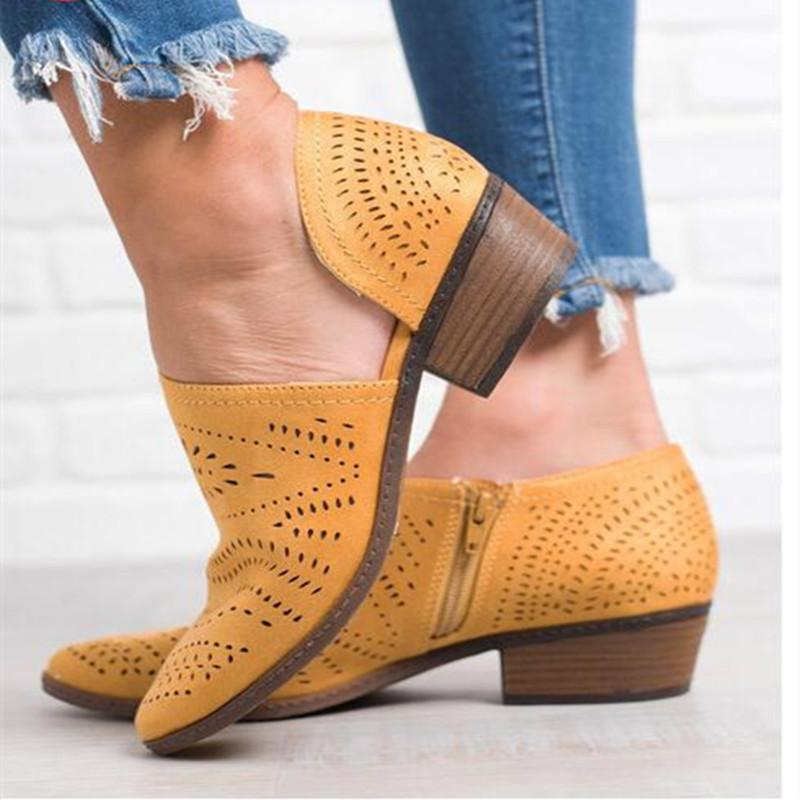 Hollow Out Low Heel Cutout Booties Zipper Suede Ankle Boots - fashionshoeshouse