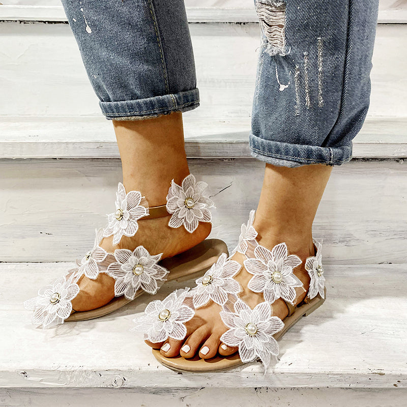 Women Sunflowers White Rhinestone Wedding Sandals