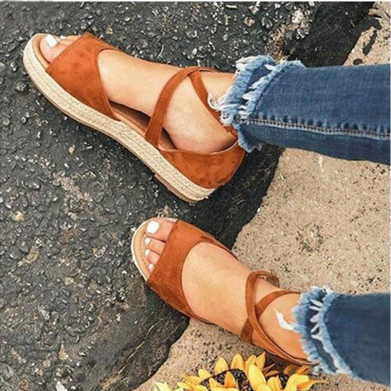 Ladies Cross-tie Summer Casual Sandals - fashionshoeshouse